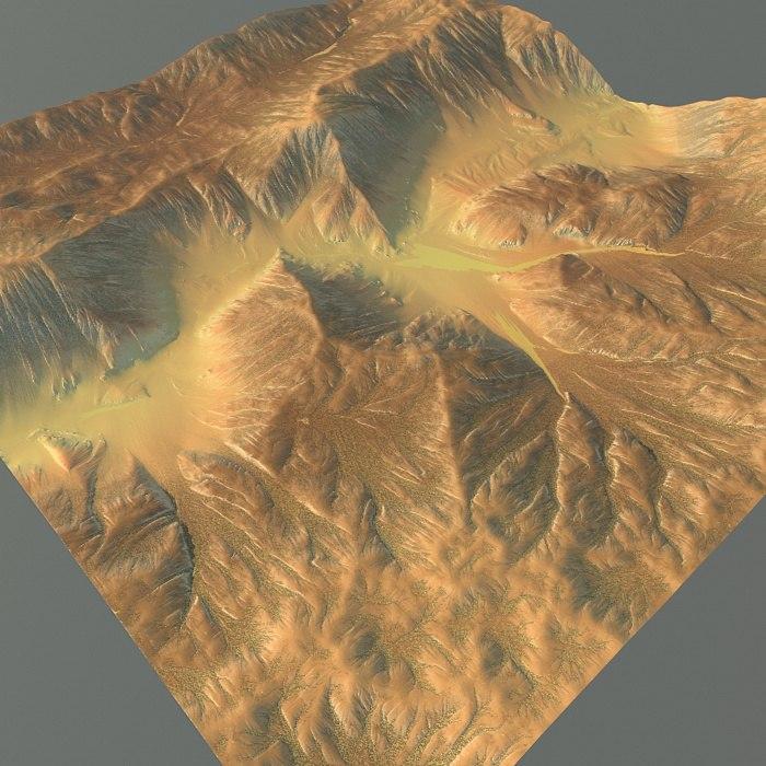 3d mountain terrain model