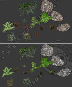 3d model rock plant set