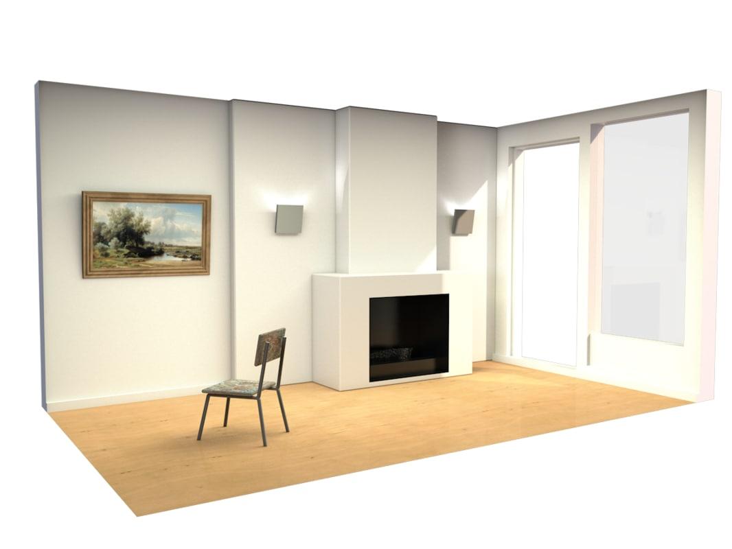 3d c4d interior fireplace