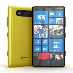 3d nokia lumia 820 yellow