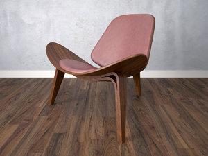 3d model armchair chair wooden