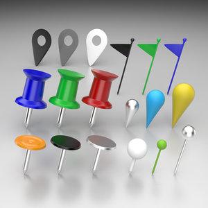 3d model office pins