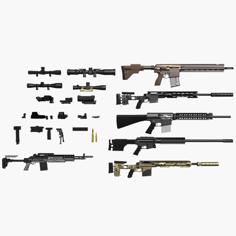 3d model sniper pack rifles