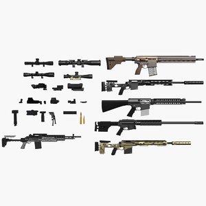 3d model sniper pack rifles