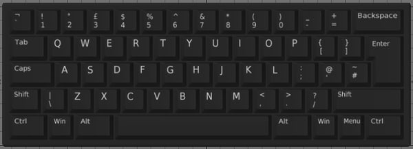 free uk-layout compact keyboard 3d model