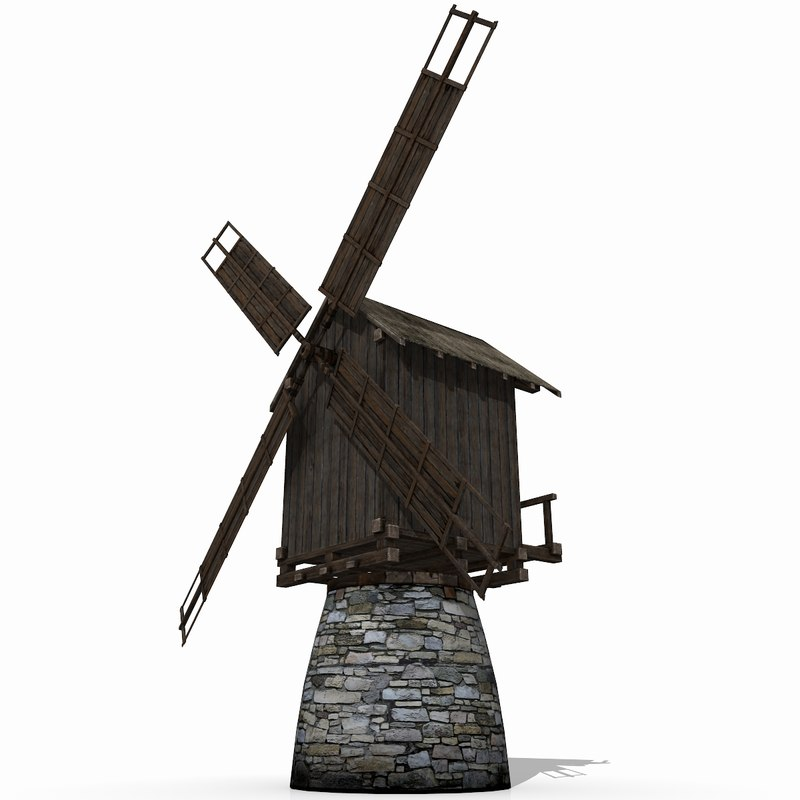 3d medieval windmill model