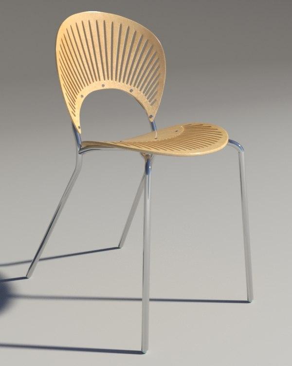 3d max chair trinitad style wood