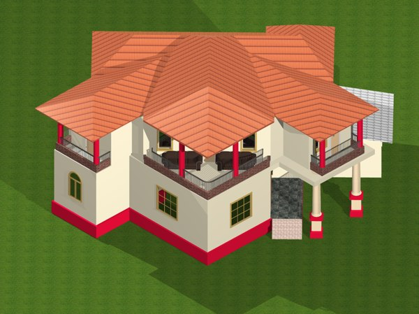 2 storey residential house 3d model