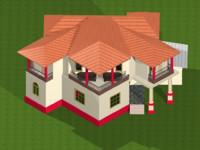 2 storey residential house 3d model