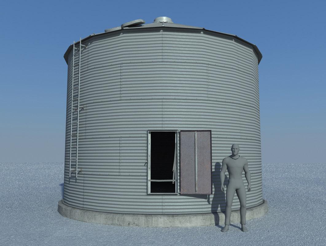 grain bin old 3d obj