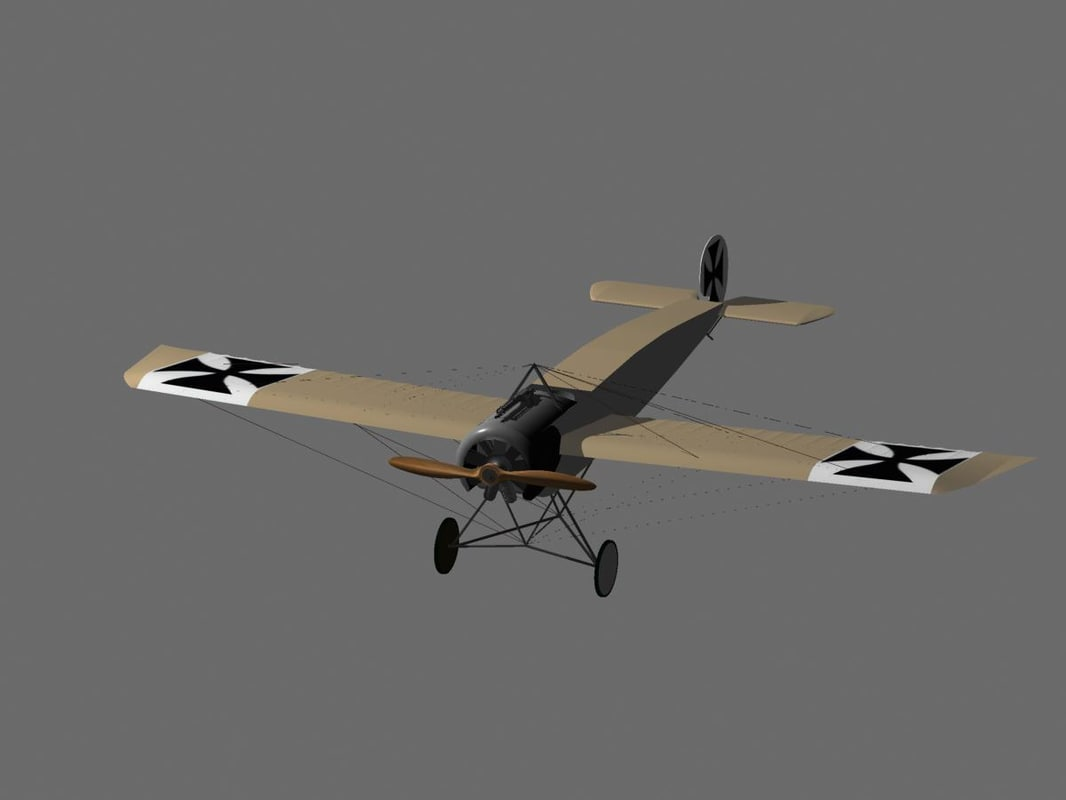 fokker eindecker fighter aircraft 3d max