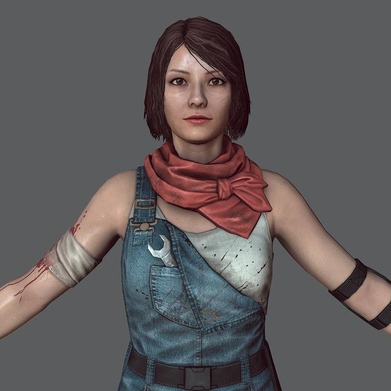 mechanic girl zombie killer 3d model