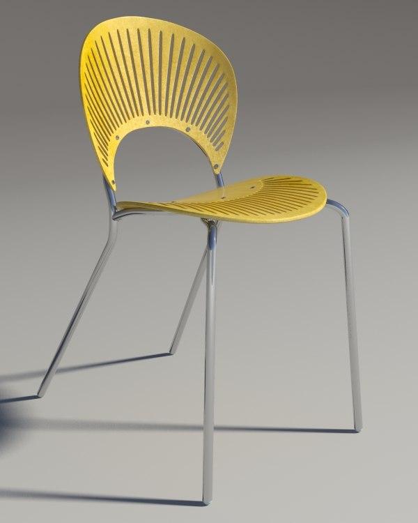 chair trinitad style yellow 3d max