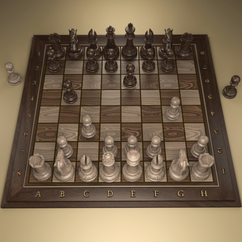 3d chessboard numbers letters model