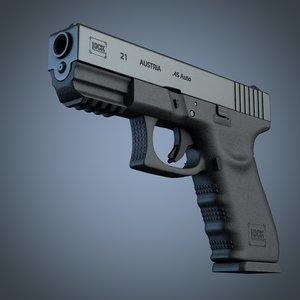 glock 21 handgun 3d cd