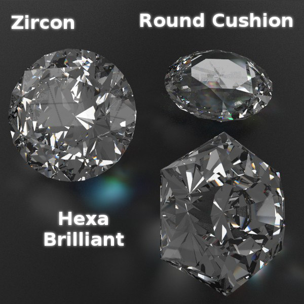 cutted gems 3d obj