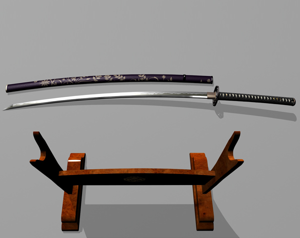 3d japanese sword katana modelled