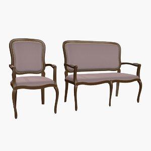 classic bench armchair 3d model