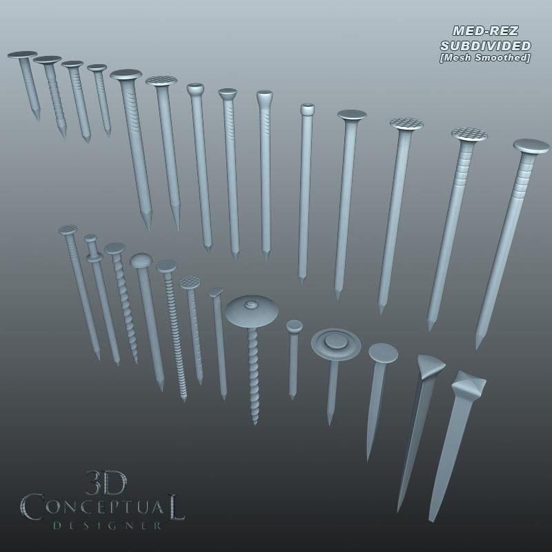3d model hardware nails