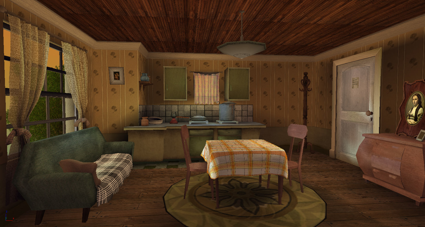 3d interior cartoon stylized model