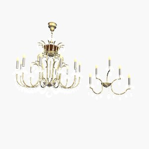 3d model chandelier maria theresa 12