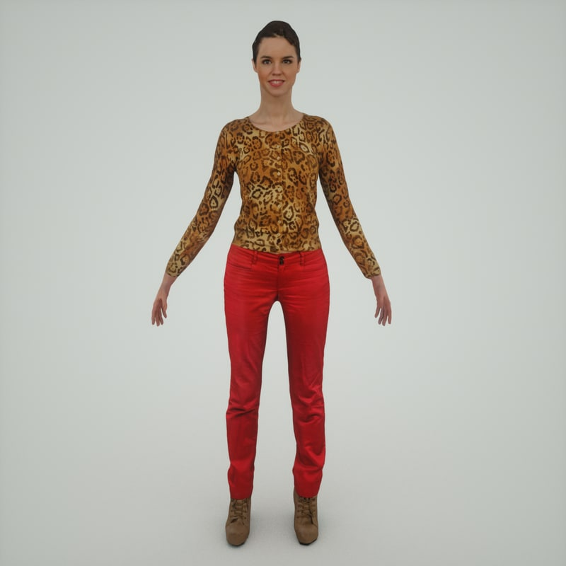 3d girl red pants model