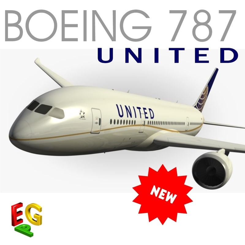 3ds max boeing 787 united airlines