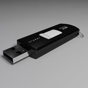3d model sandisk usb flash drive