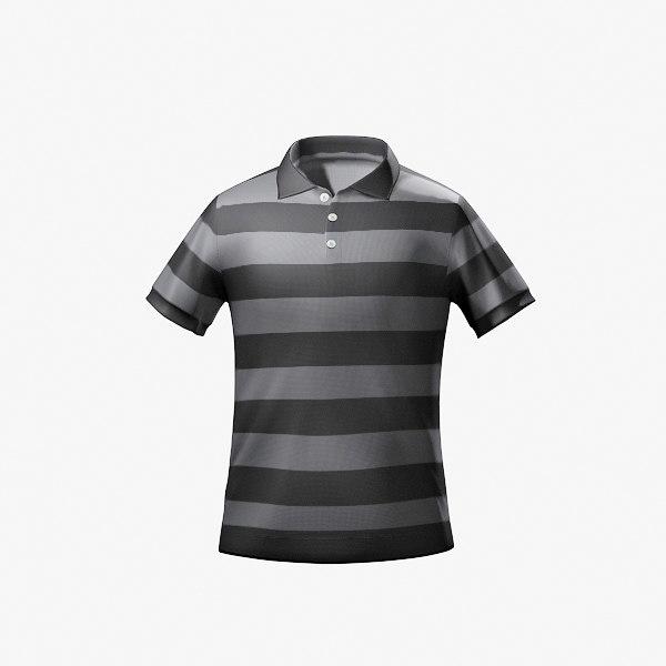 polo striped t 3d model