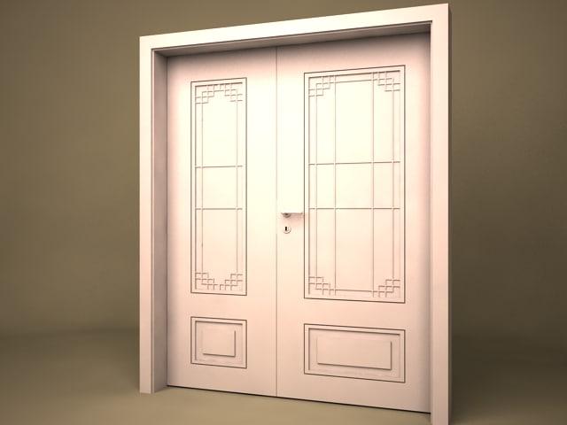 & 3d antic double door model