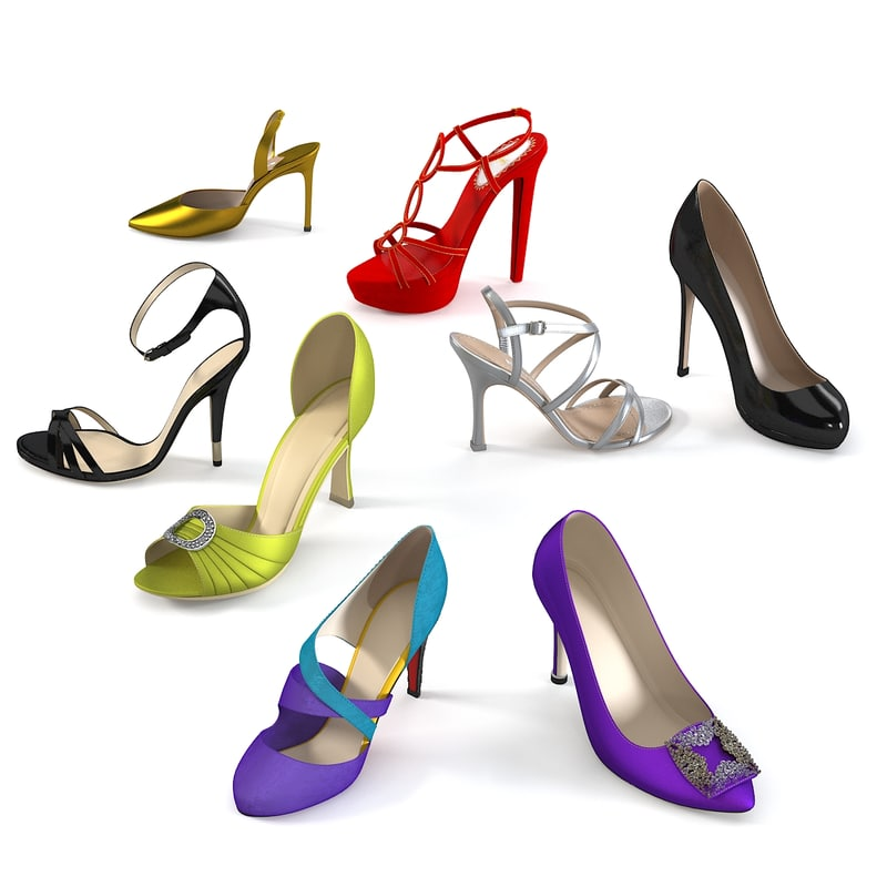 shoes set lady 3d model