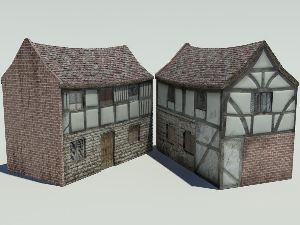 3d obj medieval house