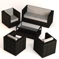 3d model garden furniture set