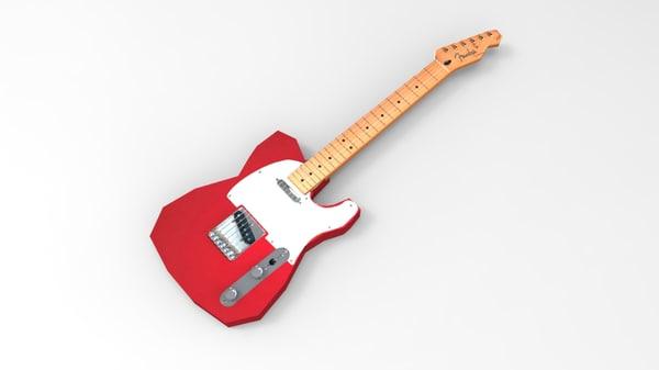 fender telecaster guitar 3d obj