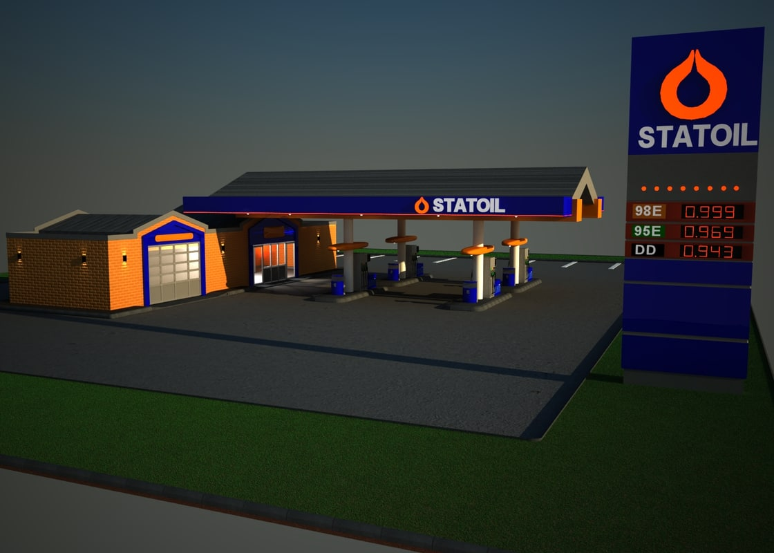 3d model gas station statoil