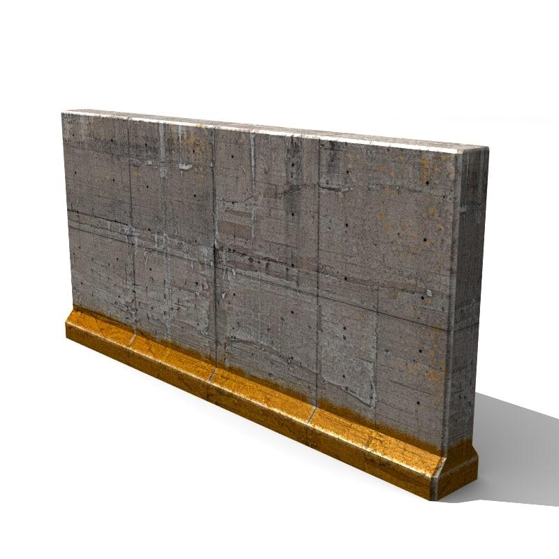3d model concrete wall element - Concrete fence models design ...