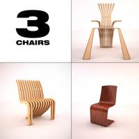 3d model modern chairs