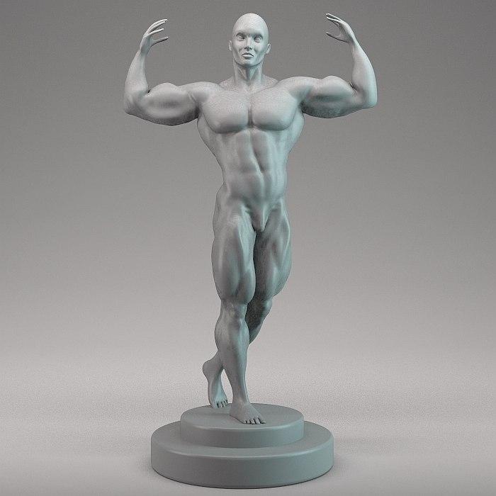 man bodybuilder 3d max