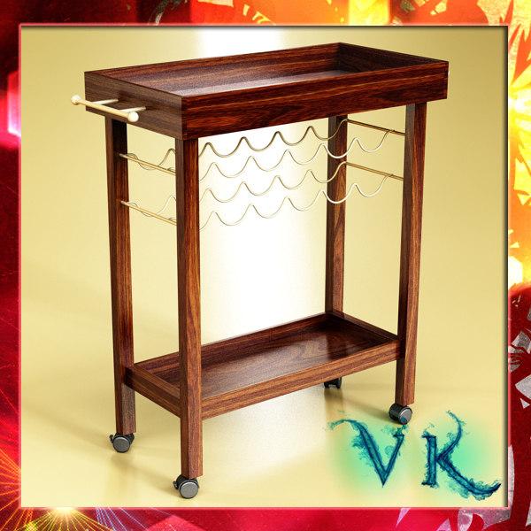 3d model wine table rack