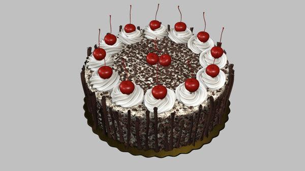 black forest cake cherry 3d obj