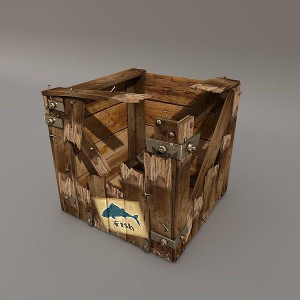 3d broken crate model