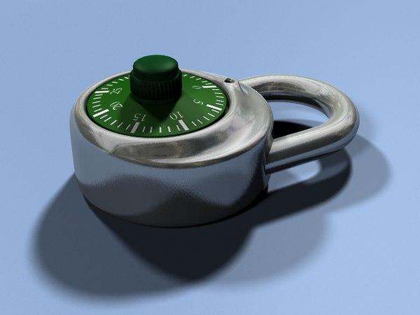 combination padlock obj