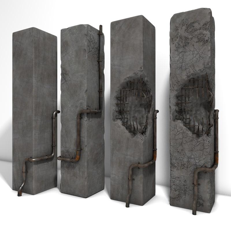 worn concrete arch damaged 3d obj