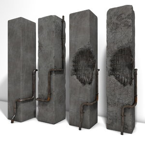 worn concrete arch damaged 3d obj