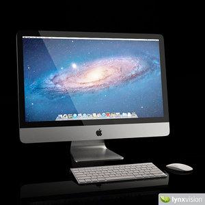 3d model apple imac desktop computer keyboard
