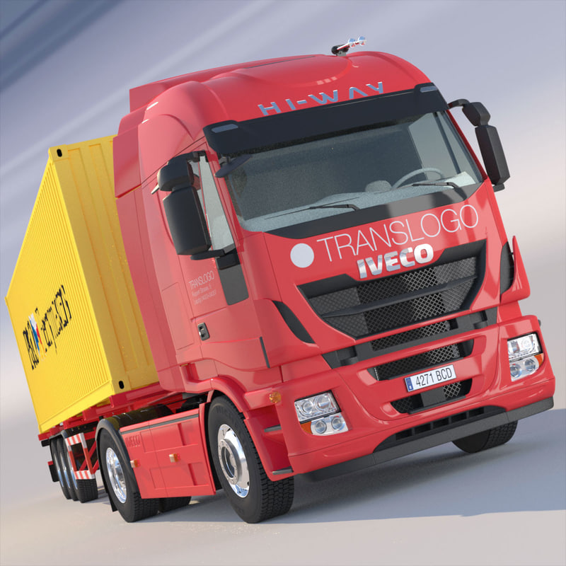 iveco stralis hi-way containers 3d model