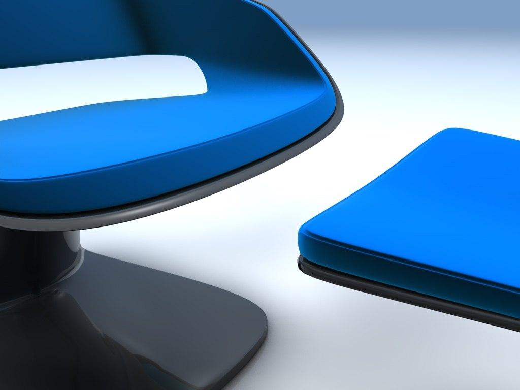modern oragami armchair footrest 3d 3ds