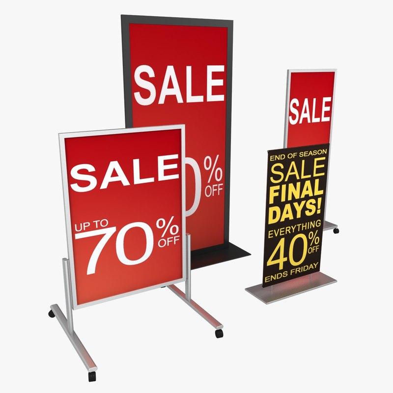 3d retail floor signage 01 model