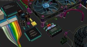 circuit board components - 3d max