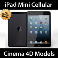 iPad Mini Cellular Black & White C4D
